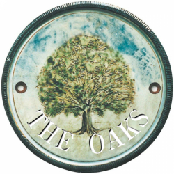 10 Inch Terracotta House Sign with an oak tree