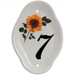 5½ x 7½ Inch Squashed Oval Ceramic Number Wall Plate