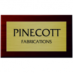 4 x 2 Inch Engraved Brass Sign with Mahogany Mount