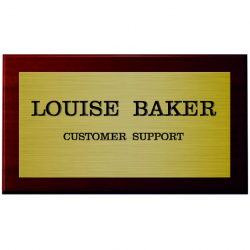 6 x 3 Inch Engraved Brass Sign with Mahogany Mount